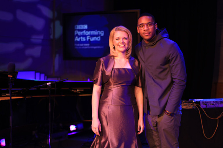 Kathryn and Reggie Yates, presenter of the The Voice UK, BBC One. Image courtesy of the BBC Performing Arts Fund.
