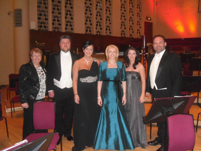 Pat Murphy, Ashley Holland, Danielle Louise Thomas, Kathryn Rudge, Monica McGhee and Paul Charles Clarke at the Liverpool Philharmonic Hall. Image Courtesy of Jospice
