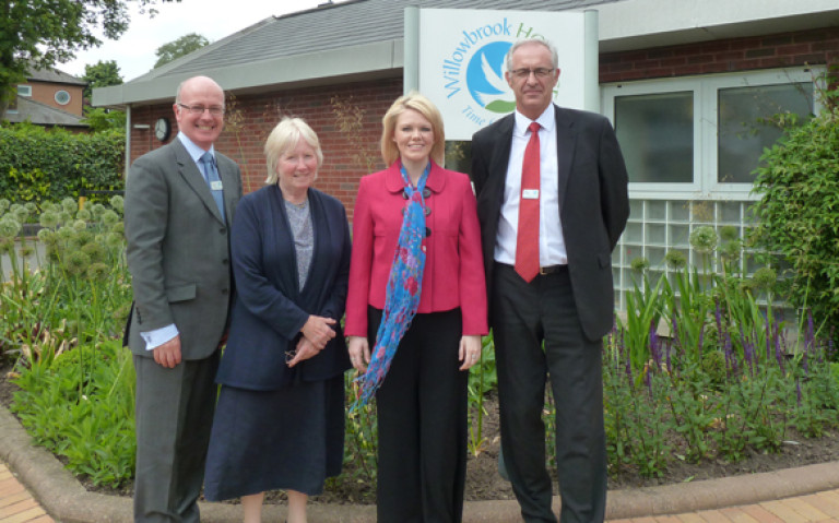 Visit to Willowbrook: Ian Turnbull Volunteer Co-ordinator, Lady Kirsty Pilkinton Chairman and Neil Wright, Chief Executive of Willowbrook Hospice.