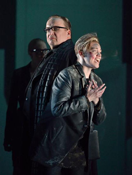 Henry Waddington as Publio and Kathryn Rudge as Annio. Photo credit: Bill Cooper